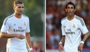 220813T.Real Madrid striker Karim Benzema and left-winger Angel Di Maria