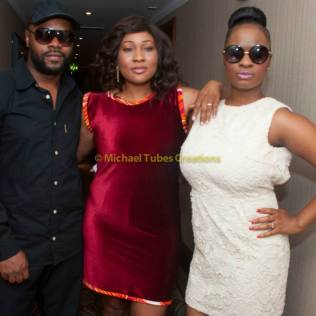 Roseline with actor 'Gold' and Christiana at Labo Press Conference